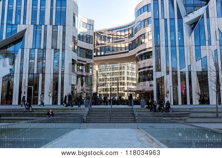 Modern Buildings In Dusseldorf, Germany. Architecture Details Of The City.