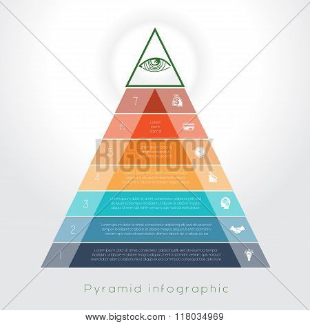 Template Infographic Pyramid For Seven Text Area