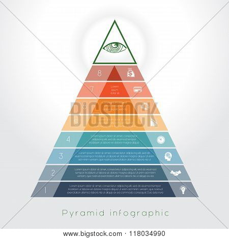Template Infographic Pyramid For Eight Text Area