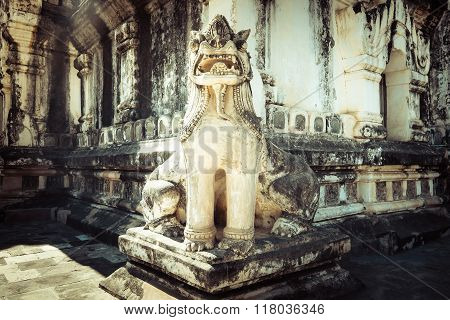 Lion Statue In Ancient Ananda Temple. Myanmar (burma)
