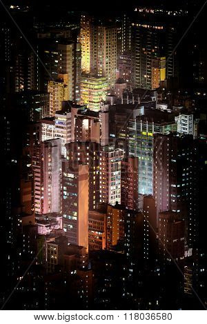 Futuristic Night Cityscape With Skyscrapers. Hong Kong