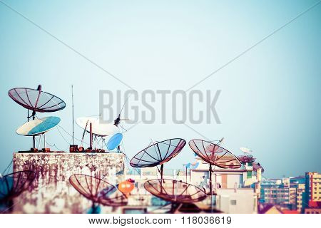 Yangon Cityscape With Satellite Dishes. Myanmar