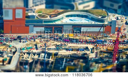 Aerial Cityscape View With Building Construction. Hong Kong. Tilt Shift
