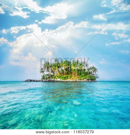 Ocean Landscape With Tropical Island. Thailand