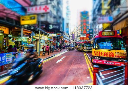 Hong Kong City  With Transport And Plenty Advertisements