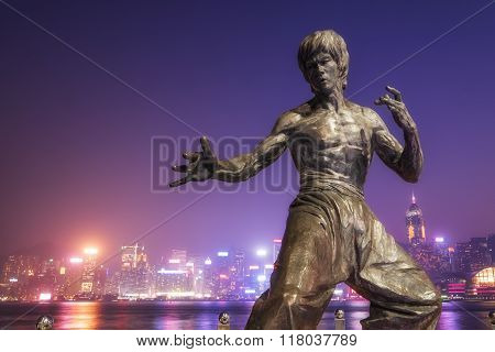 Bruce Lee Statue At Hong Kong Avenue Of Stars