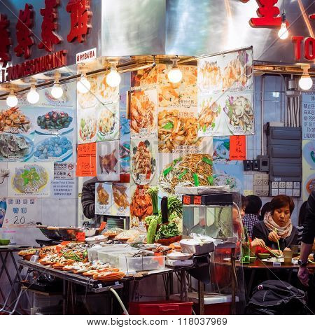 Hong Kong City Street Restaurant With Asian Food
