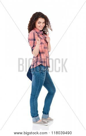 Beautiful student girl with backpack, isolated on white background