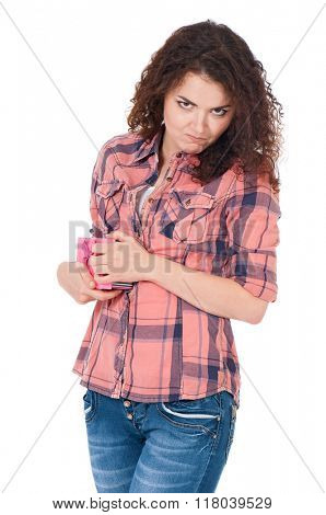 Girl with gift box, isolated on white background