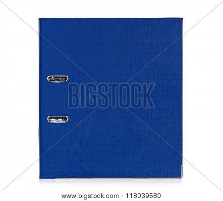 Big blue folder for document, isolated on white background