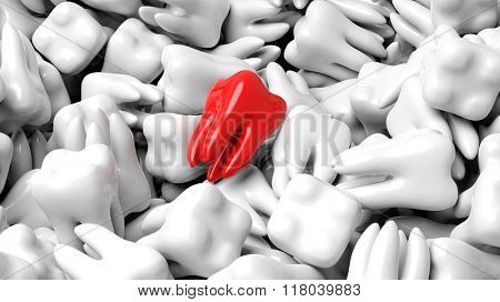 Pile of white teeth with one red, abstract conceptual background