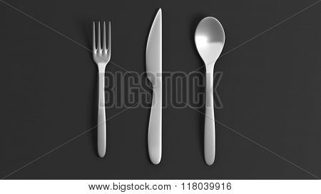 Fork, spoon and knife, isolated on black background.