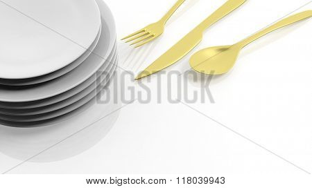 Golden fork, spoon and knife with a stack of plates, isolated on white background.