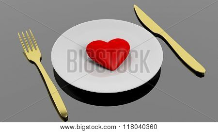 Heart on plate with golden fork and knife, isolated on black background.