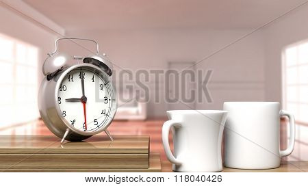 Retro alarm clock closeup with two cups of coffee and house interior in the background.