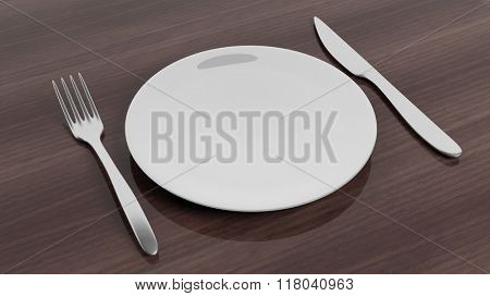 Fork, knife and plate set on wooden surface.