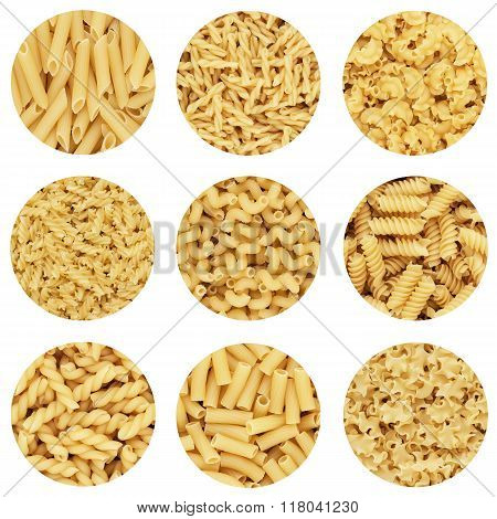 different dry uncooked pasta abstract design composition