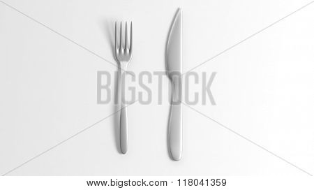 Fork and knife, isolated on white background.