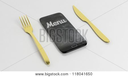 Golden fork and  knife with smartphone with Menu written on screen, isolated on white background.