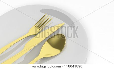 Golden fork, spoon and knife with a plate, isolated on white background.