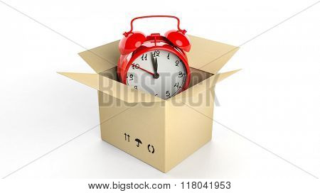 Retro red alarm clock in carton box, isolated on white background.