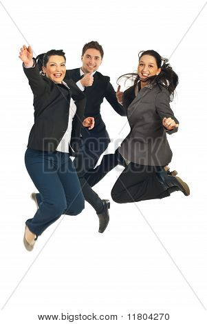 Cheerful Teamwork Jumping