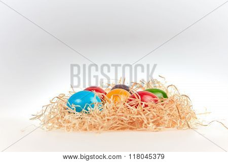 Side View Of Easter Nest With Eggs