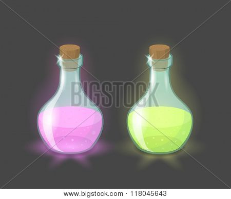 Vector magic bottles with pink and green drinks, eps10