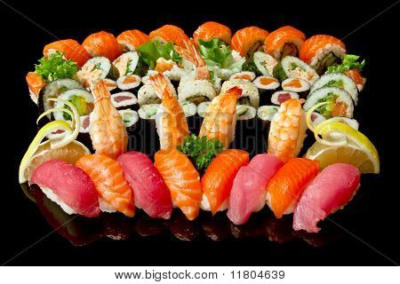 set of various types sushi