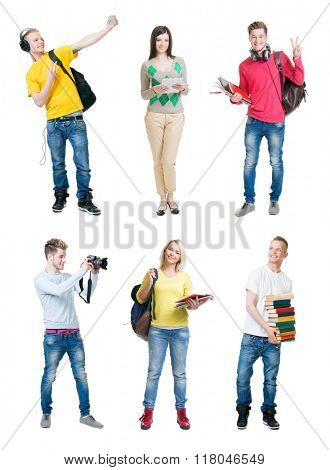 Set of young happy students on isolated background.