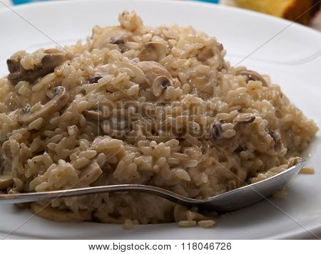Italian Risotto With Mushrooms, Fresh Herbs And Parmesan Cheese