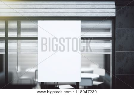 Blank White Poster On Transparent Wall In Modern Conference Office, Mock Up