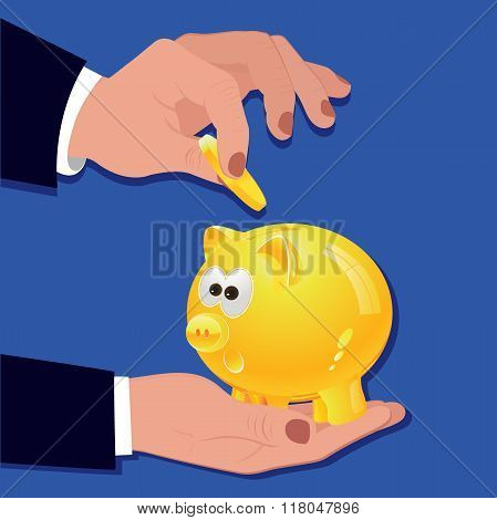 man putting coin into piggy bank, investment concept, vector illustration