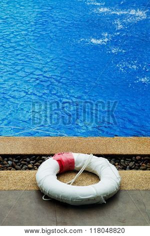 floating buoy in swimming pool at outdoor