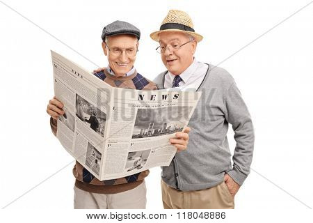Studio shot of two senior gentlemen reading a newspaper isolated on white background