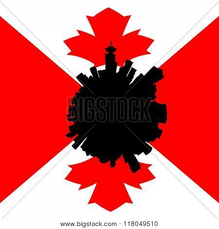 Vancouver circular skyline with Canadian flag illustration
