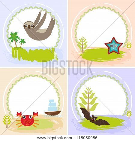 sloth, crab, cancer, starfish, bat, set of cards design  with funny animals, template banner for you