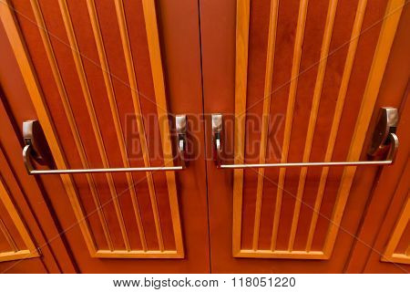 Close Up Of The Theater Entrance Double Doors.