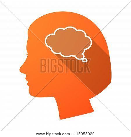 Long Shadow Female Head With A Comic Cloud Balloon