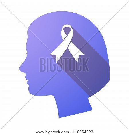 Long Shadow Female Head With An Awareness Ribbon