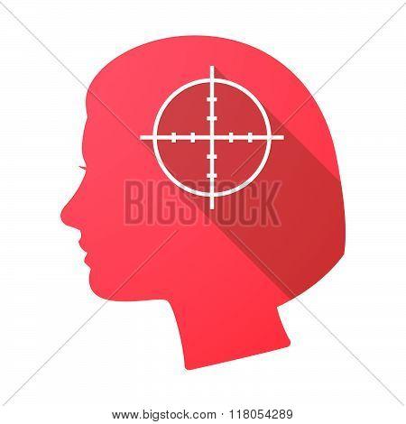 Long Shadow Female Head With A Crosshair