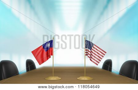 Taiwan and United States relations and trade deal talks 3D rendering