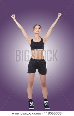 Fitness girl stretch and feel free, full length portrait on white background.