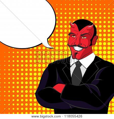 Devil Pop Art. Red Horned Demonl And Text Bubble. Satan Laughs. Lucifer In  Business Suit.