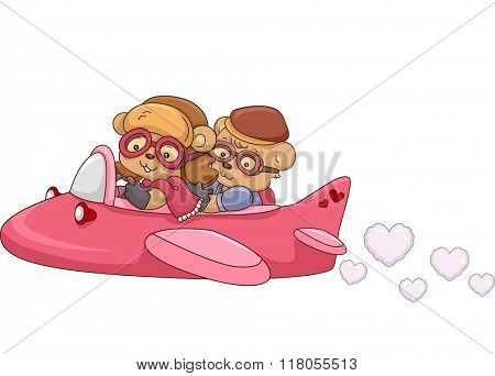 Illustration of a Bear Couple Riding in an Airplane