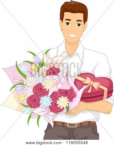 Illustration of a Man Carrying a Box of Chocolates and a Bouquet Flowers