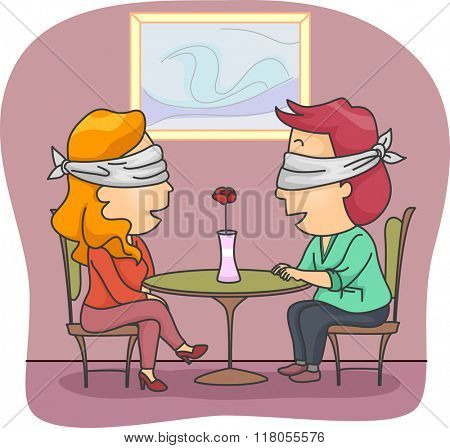 Illustration of a Man and Woman Set Up on a Blind Date