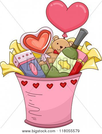 Illustration Featuring a Valentine Gift Bucket Filled with Assorted Presents