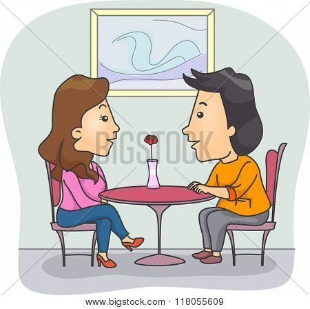 Illustration of a Couple Chatting in a Fine Dining Restaurant