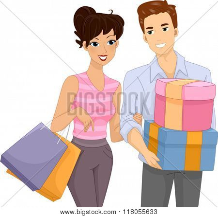Illustration of a Couple Going Shopping Together
